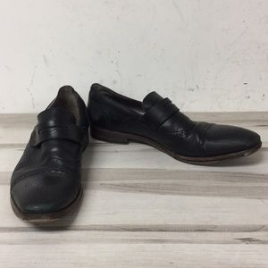 YSL Black Leather Slip On Perforated Loafer 39